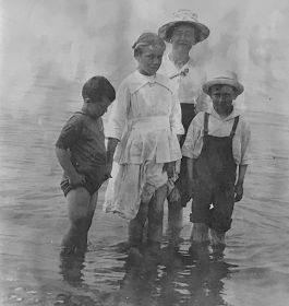 L.M. Montgomery, Chester, Marion and Keith Webb in Cavendish, PEI. June 30, 1918