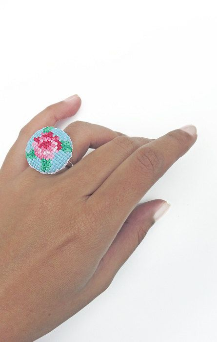 Adjustable Cross Stitch Rings by LilyBedilly on Etsy www.facebook.com/lilybedilly