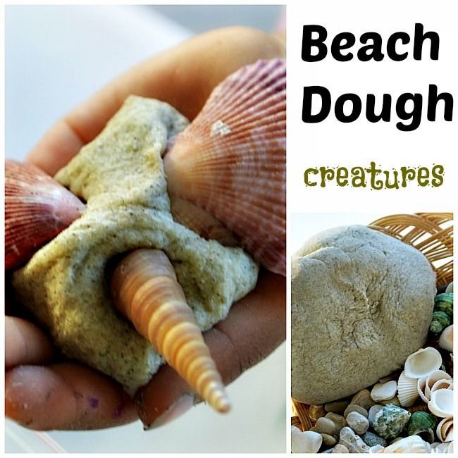 "Make your own ""Beach Dough"" creatures summer sensory activity"