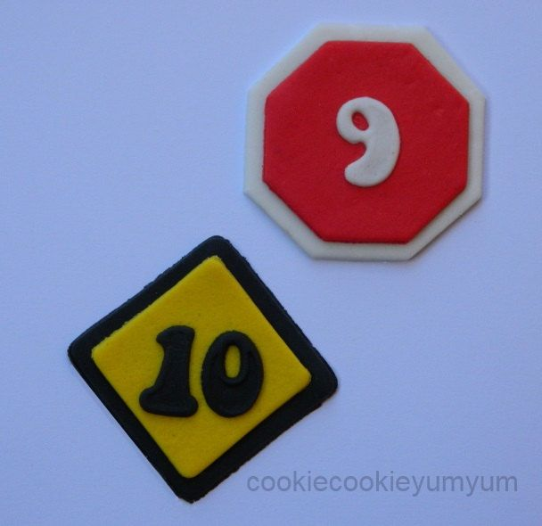 12 edible AGE ROAD SIGNS traffic cars construction cake decoration cupcake topper decoration party anniversary birthday engagement valentine by cookiecookieyumyum on Etsy