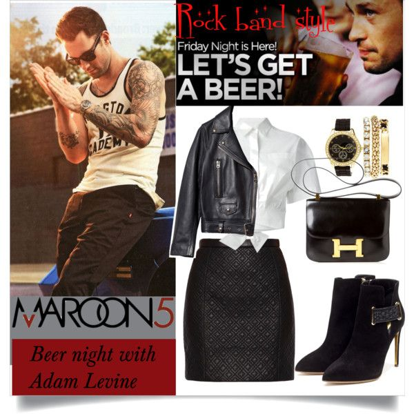 Date night with Adam levine by bohedgian on Polyvore featuring MSGM, Acne Studios, Jason Wu, Rupert Sanderson, Hermès, Charlotte Russe, AdamLevine, maroon5, polyvoreeditorial and thatboyismine