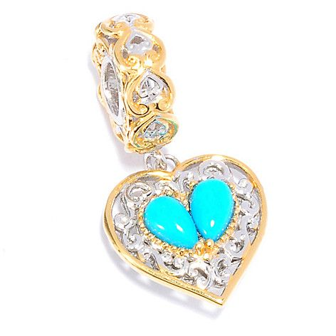 137-686 - Gems en Vogue Sleeping Beauty Turquoise Heart Drop Charm
