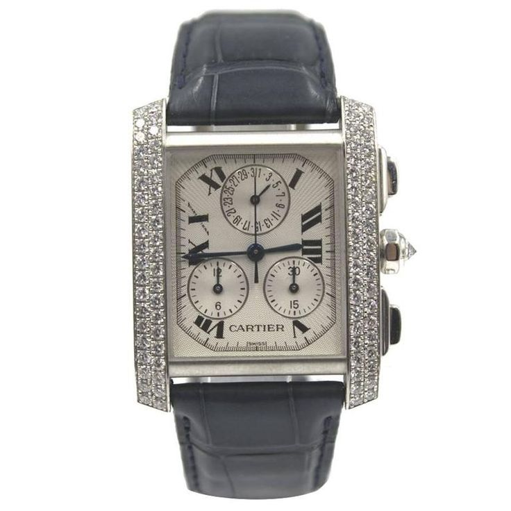 Cartier Tank Francaise Chronoflex Diamonds 18 Karat White Gold Black Band | From a unique collection of vintage wrist watches at https://www.1stdibs.com/jewelry/watches/wrist-watches/