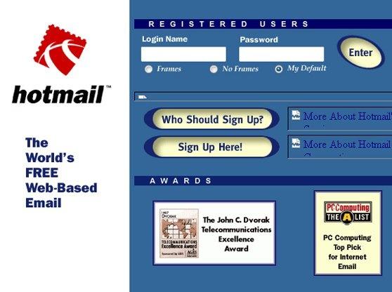 #1996 - Sabeer #Bhatia & Jack #Smith lance le 1er #webmail : #Hotmail. #CaraMail 1er webmail #français créé en #1997 sera revendu à #Lycos.