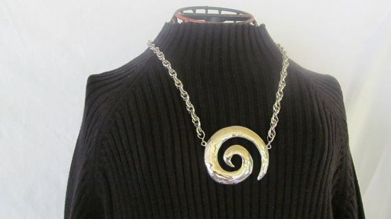 Chunky Hurricane Alley Statement Large Silver Swirl Necklace Parklane Jewelry Modernist Necklace  $45.00   reVintageBoutique.Etsy.com