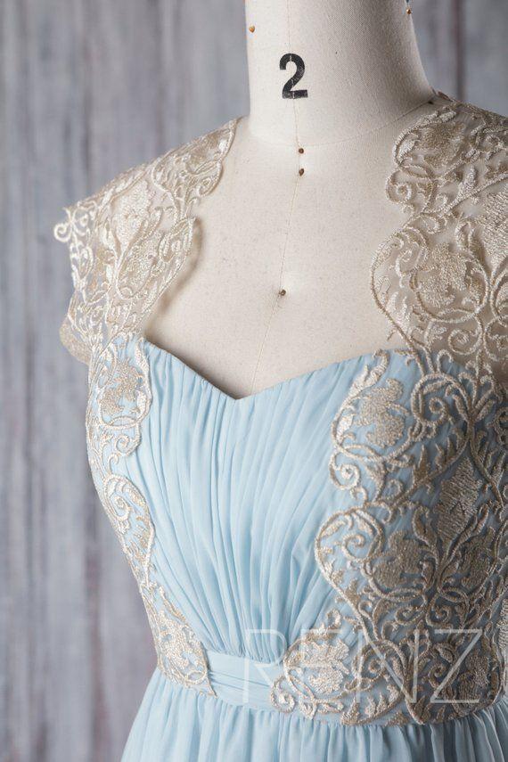 654e9d84e29 Bridesmaid Dress Light Blue Chiffon Gold Lace Maxi Dress