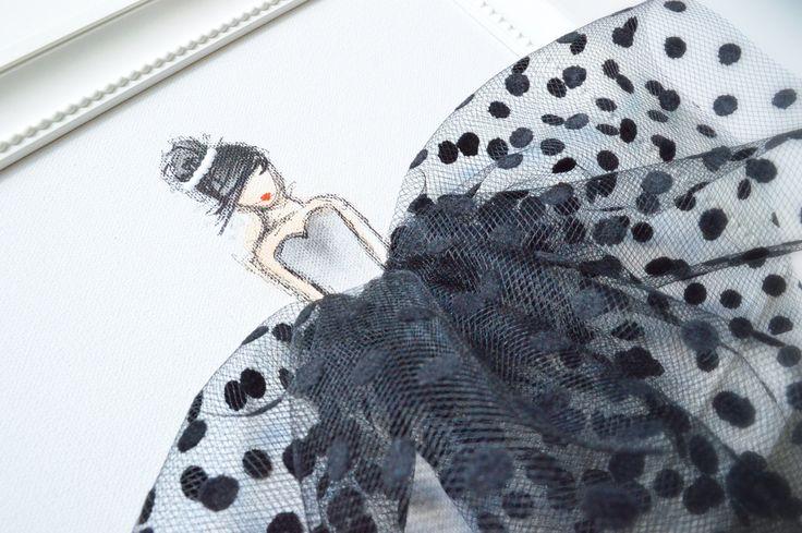 DAMA DE NEGRO Pintura de acrílico original, pintado a mano sobre lienzo estirado. Obra de arte única, compuesta por pintura acrílica y Tul, ideal para habitación de niña, infantiles, babyshower, regalo de cumpleaños, etc.. ---------------------------------------------------------------------------------------------- Este es el listado para una lona solamente (señora en tul negro pez). Ver nuestros otros anuncios arte de mezclar y combinar! Por favor tenga en cuenta que los marcos no son…