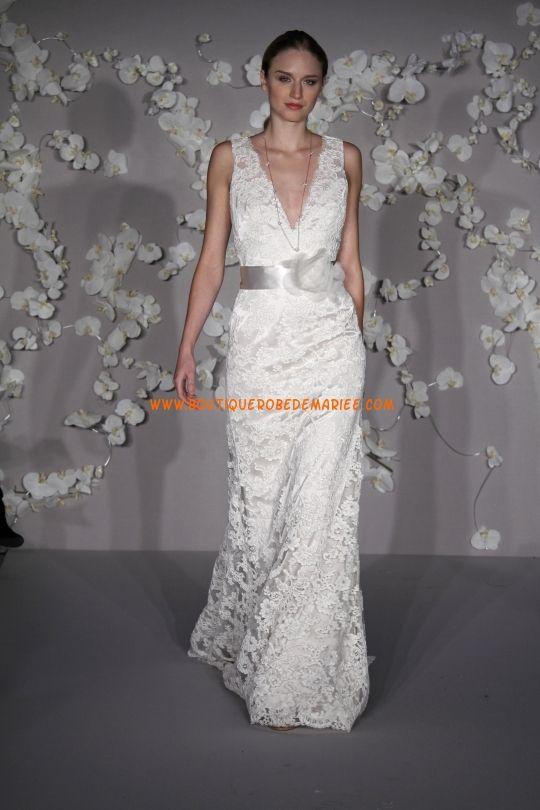 Robe de mariée dentelle avec ceinture col V