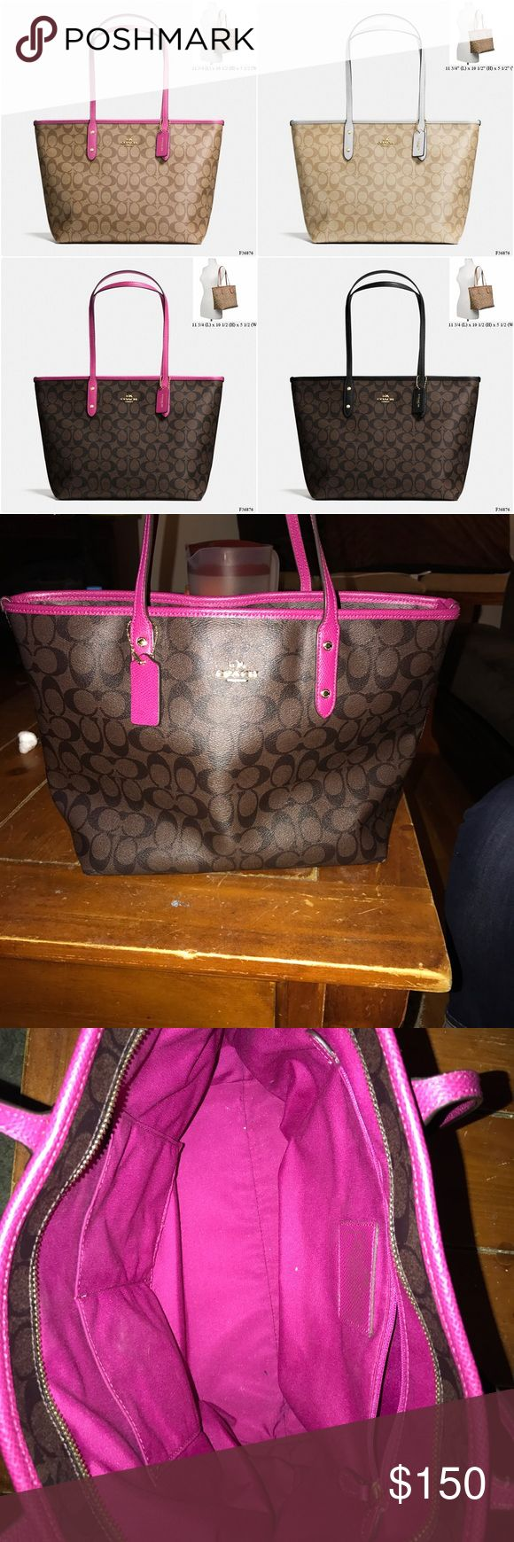 Coach signature fuchsia city zip tote Gently used 100 % Authentic signature brown and fuchsia tote Coach Bags Totes