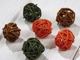 Kulki ratanowe 2-3 cm 12 szt/op pomorańczowo-zielono-brązowe