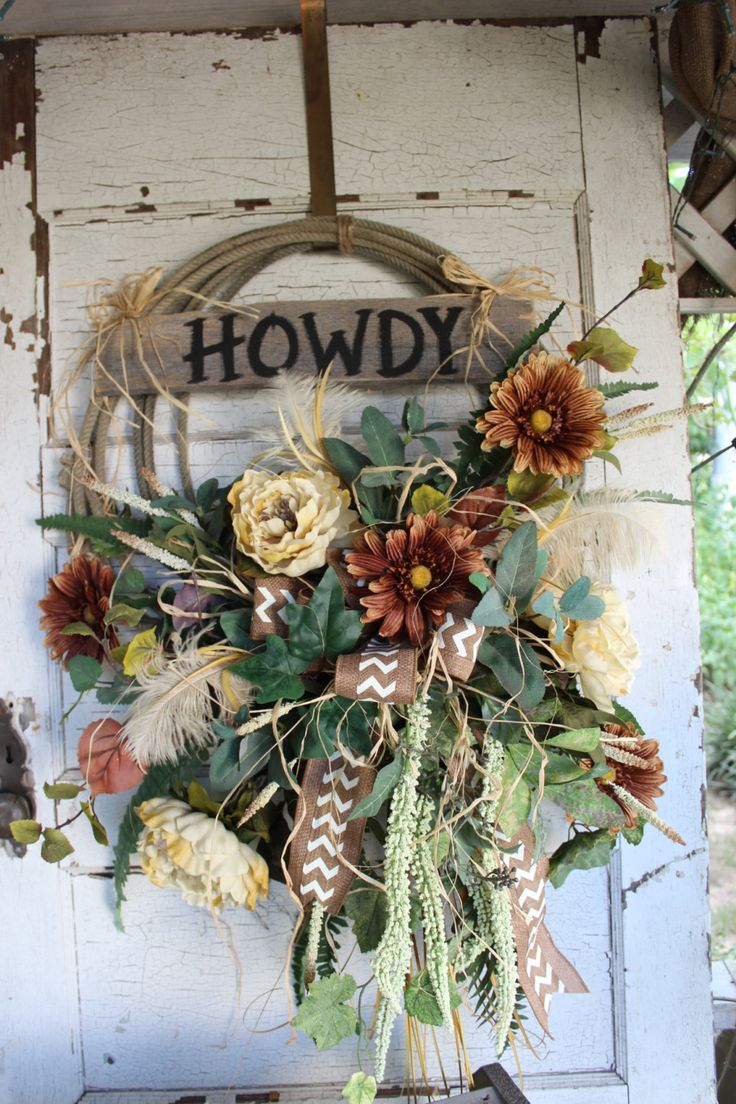 Howdy Western Rope Wreath with Brown and Cream Flowers / Rustic Lariat Wreath / Cowboy / Country/ Farmhouse / Western Home Decor / Ranch by GypsyFarmGirl on Etsy
