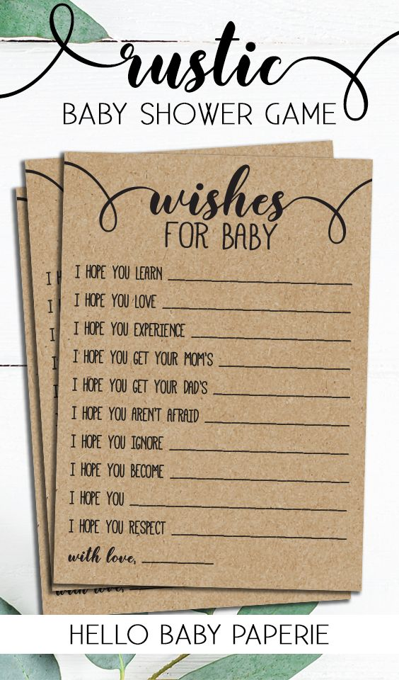 Wishes for Baby, Rustic Baby Shower, Gender Neutral, Baby Shower Games, Woodsy, Woodland, Rustic, R01