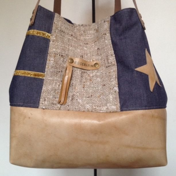Sac Cabas cuir beige et jean (matériaux en partie recyclés)