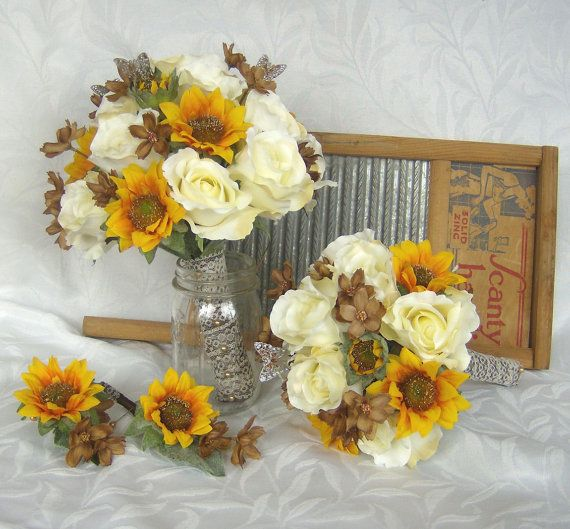 Bouquets for my girls    Sunflower bridal bouquet sunflower roses by ChurchMouseCreations, $109.00