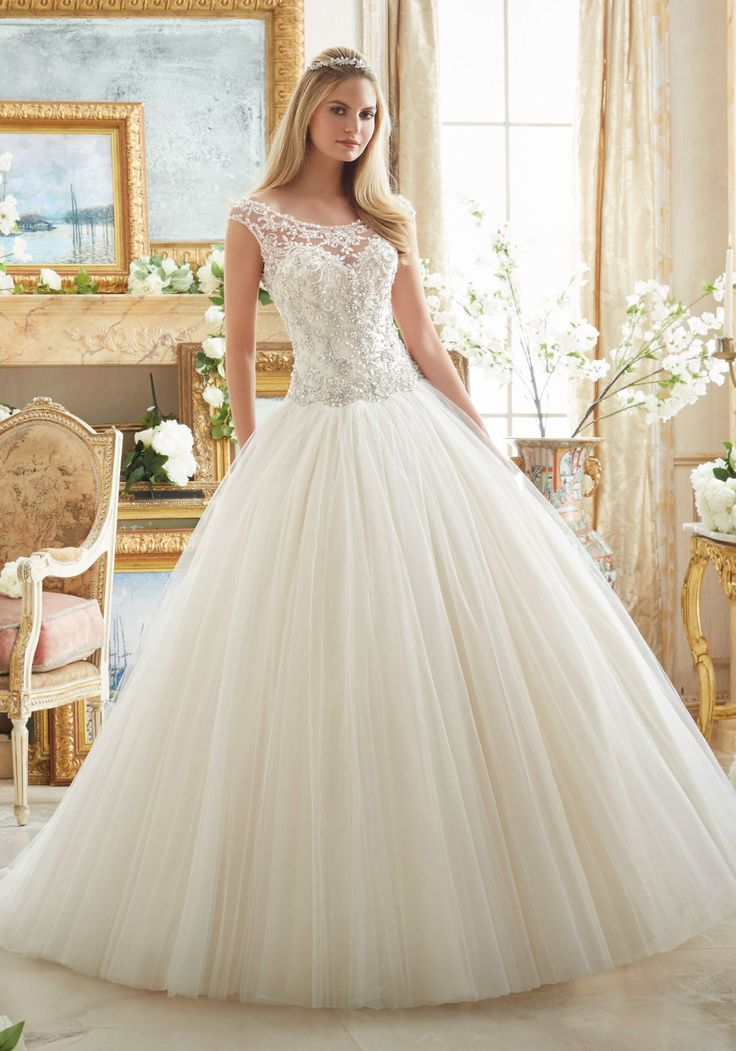 Shop The Mori Lee 2884 Wedding Dress With An Off Shoulder Sweetheart Neckline This Tulle Ball Gown Features Embroidered Accents And Crystal Beading