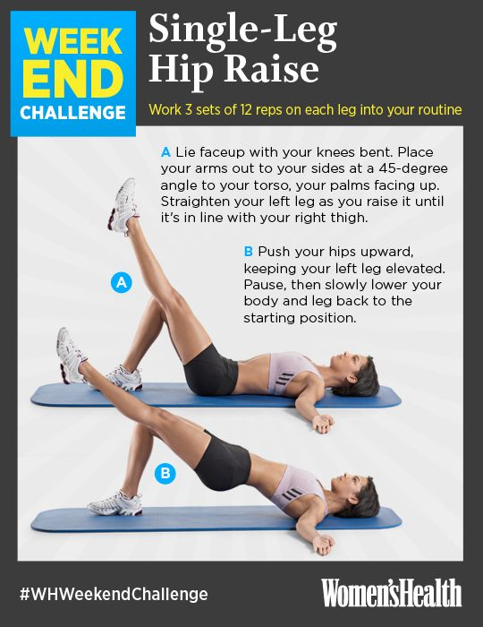 RE-PIN IF YOU'RE IN! Single-Leg Hip Raise: Tighten your tush with this hip raise variation. Not only does this body-weight move work your glutes and hamstrings, but it requires you to brace your abs, making it a great core exercise, too! http://www.womenshealthmag.com/fitness/weekend-challenge-single-leg-hip-raise?cm_mmc=Pinterest-_-womenshealth-_-content-fitness-_-weekendchallengehipraise #WHWeekendChallenge