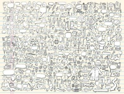 A huge collection of free vector doodle. Lots of various elements in cartoonish doodle style.
