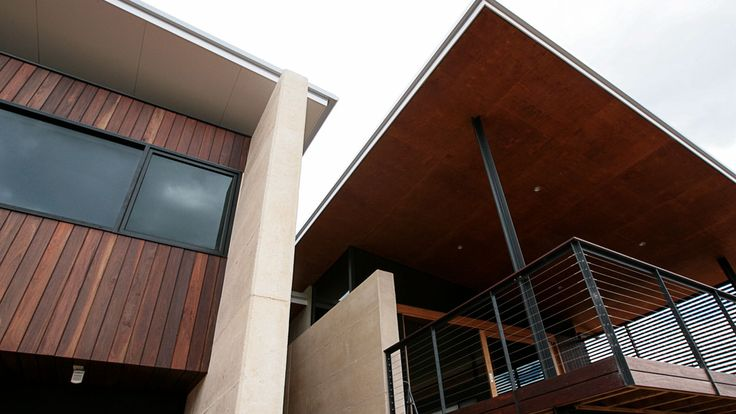 Country Style Holiday Home, Spotted Gum Cladding, Jarrah decking, Jarrah hand rails, stainless steel balustrading, timber patio ceiling, architecture, rammed earth