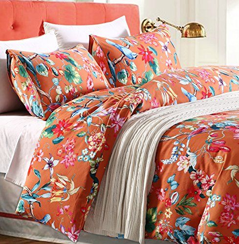 tropical garden luxury 3 piece duvet cover set island tree branch and birds floral pattern brushed cotton twill king