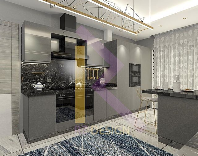 Modern Kitchen 3D Design #kuwaitbusiness #kuwaitinstagram Adorable Kitchen 3D Design Design Decoration
