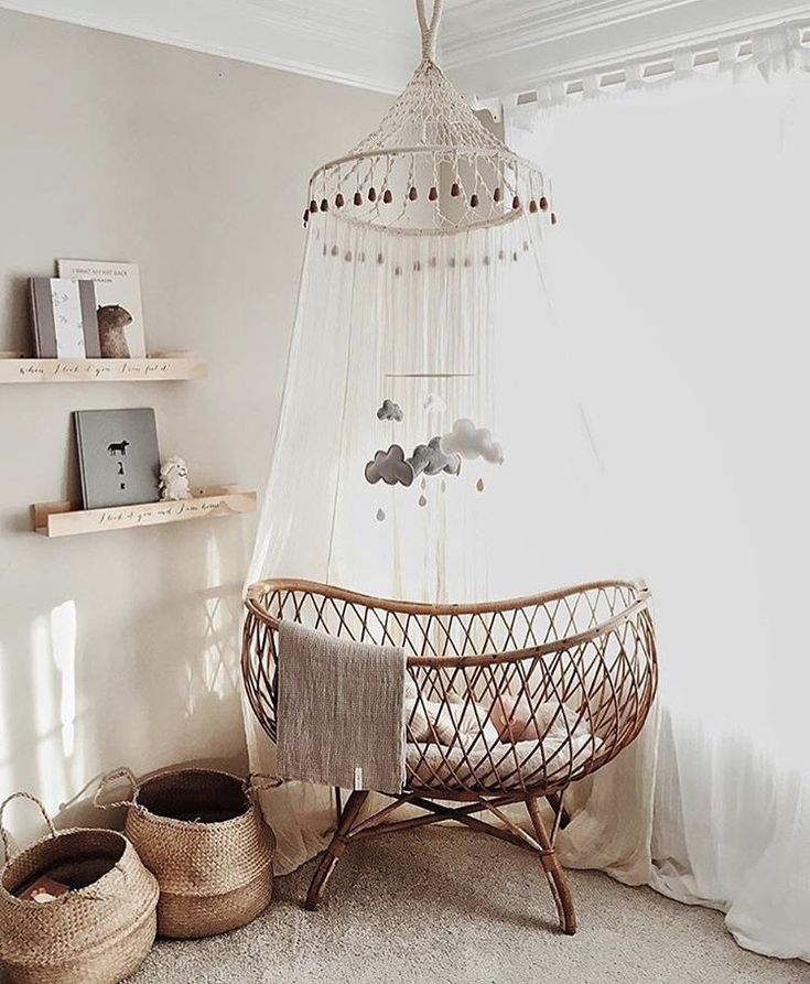 Love this vintage crib rattan crib woven cot with canopy nursery with vintage details