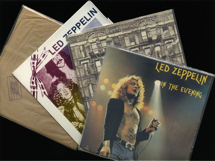 """Led Zeppelin veel van vier grote rock albums met inbegrip van """"Live Album Kopenhagen 1979 In de avond"""" (2LP) """"Fysieke graffiti (2LP)"""" en twee meer  Led Zeppelin veel van vier grote rock albums met inbegrip van """"Live Album Kopenhagen 1979 In de avond"""" (2LP) """"Fysieke graffiti (2LP)"""" en twee meerGrote albums door de fantastische Britse band.Voorwaarden:1. led Zeppelin Bootleg Double LP mega zeldzame """"Live Album Kopenhagen 1979 In de avond"""" een onofficiële release uit de vroege jaren…"""