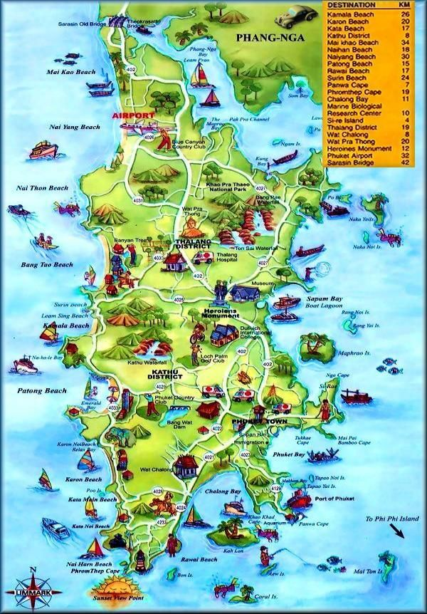 Best Funky Map of Phuket, Thailand. We book Golf-Tours-Hotels-Spa's-Scuba &  more in Phuket Thailand.