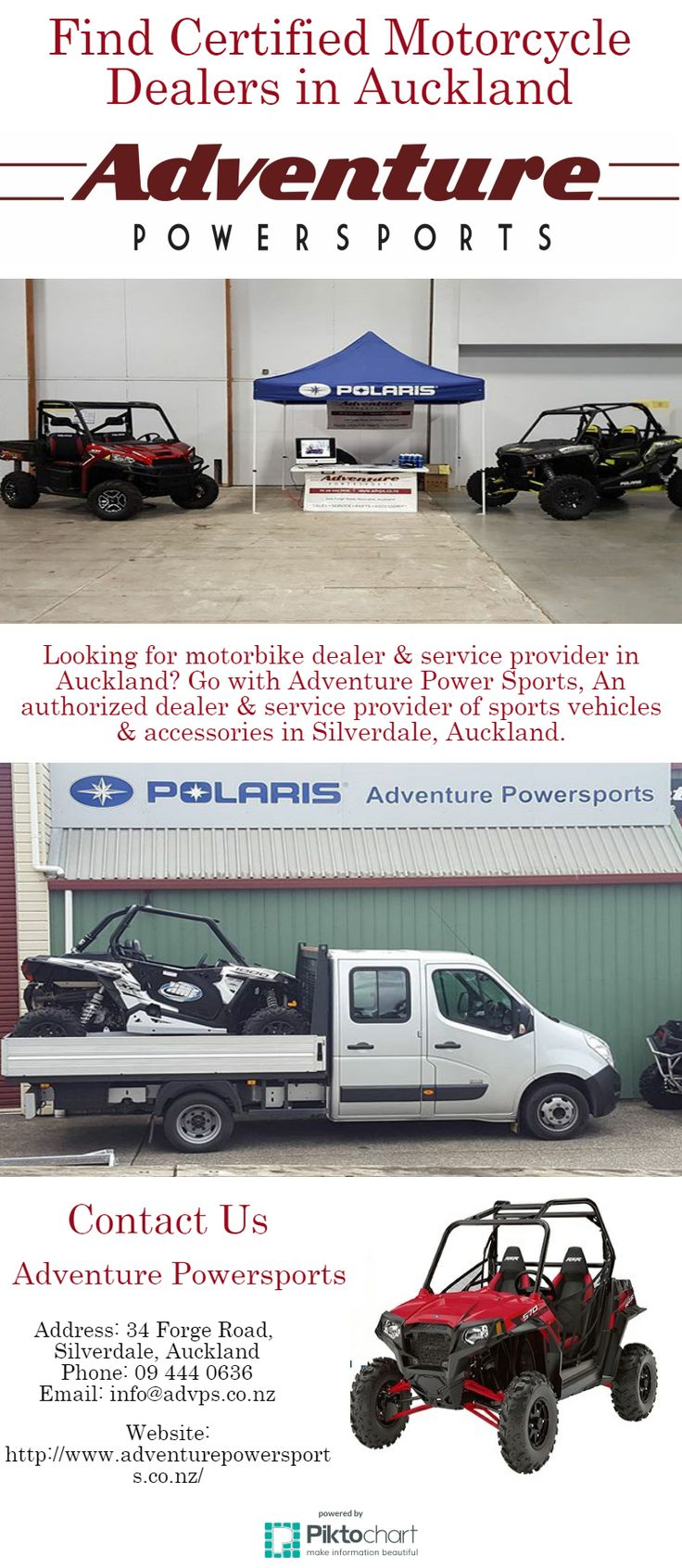Looking for motorbike dealer & service provider in Auckland? Go with Adventure Power Sports, An authorized dealer & service provider of sports vehicles & accessories in Silverdale, Auckland.
