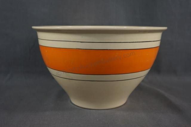 "With Orange band stripe - Produced by Roseville Pottery dating from the 1930's-40's with stamped ""RV"" mark. Features wide bands of solid colors, this one being orange, accented with black pinstripes. Found in many Roseville Pottery reference books. Reference used: Warman's Roseville Pottery 2nd Edition Identification and Price Guide page 257. The bowl has no chips, cracks or breaks."