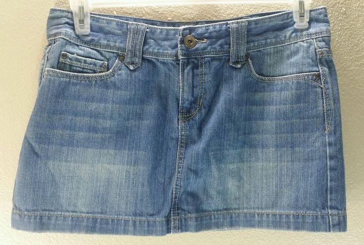 Aeropostale Micro Mini Skirt Denim Jean Sandblasted Juniors Women's Size 9/10 #Aeropostale #Mini