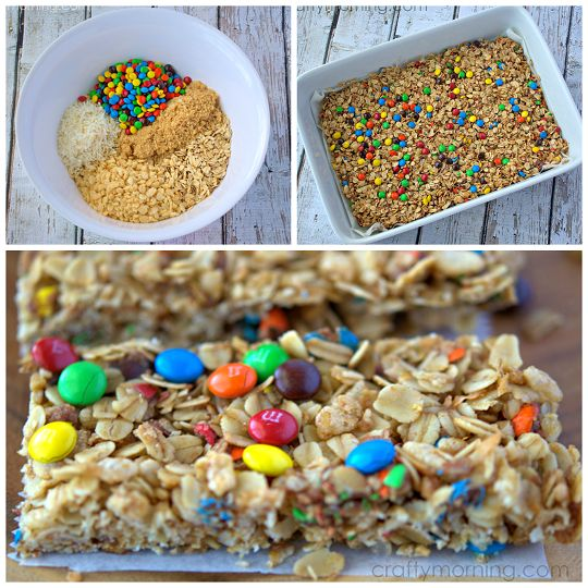 Learn how to make homemade mini m&m granola bars for a kids snack! This recipe is a keeper.
