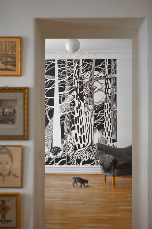 "The wallpaper ""Fir forest"" by Cecilia Pettersson in the wallpaper collection ""Curated by Fine Little Day, a collaboration with Swedish Photowall."