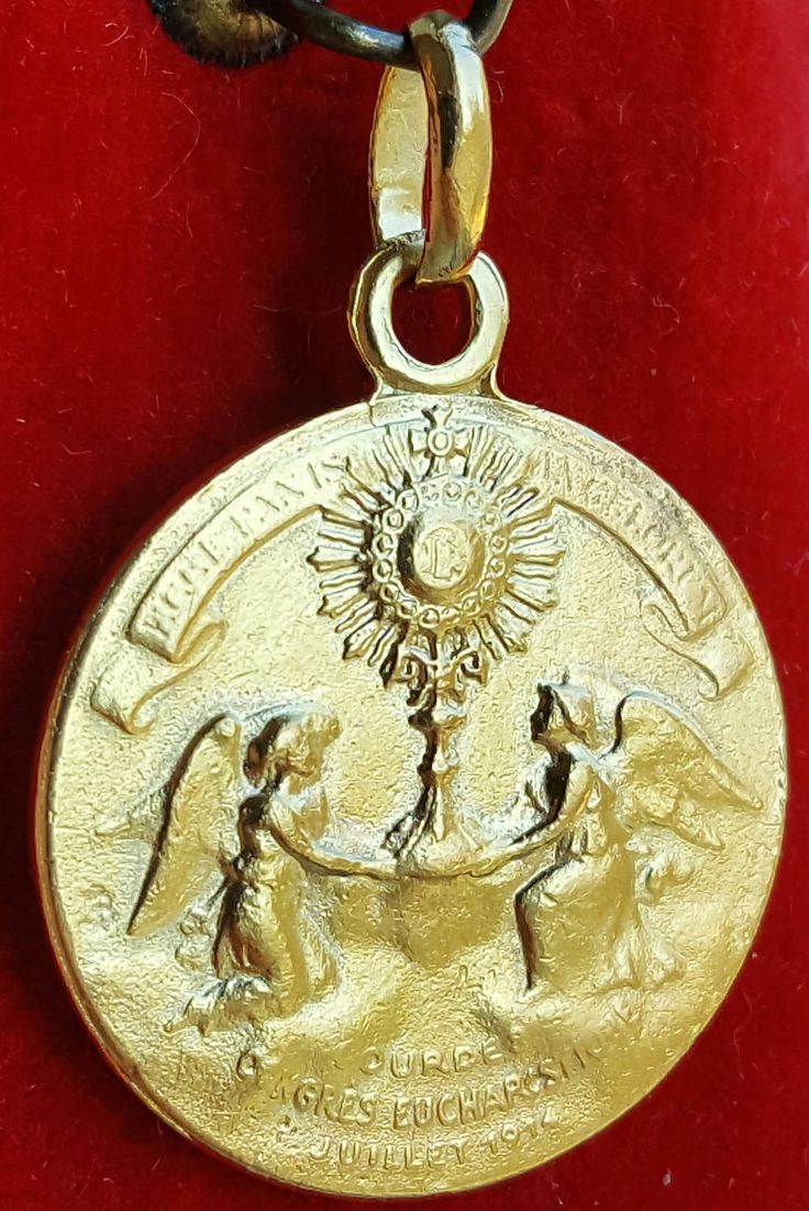 Lourdes Eucharist Congress Medal Pendant Art Nouveau Angels Chalice Religious Catholic Jewelry Eucharist Chalice Medal 18K Gold Plated by PinyolBoiVintage on Etsy