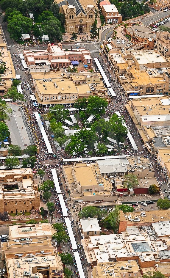 Aerial view of downtown Santa Fe during Indian Market 2011 - photo shot from an airplane! Copyright SWAIA/Kitty Leaken 2011