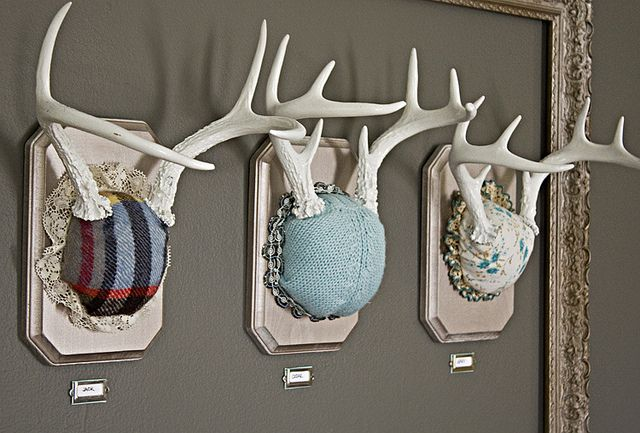 I love the faux taxidermy even though these are real for Fake deer antlers for crafts