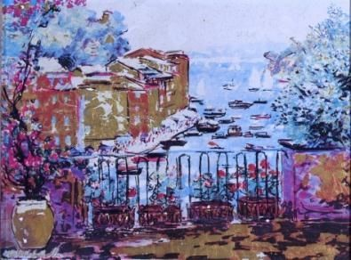 Michele Cascella - Terrace in Portofino, Argentografia
