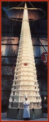 Wedding cake for Janni & Simon Spies, Denmark. The biggest wedding cake ever. More than 11 meters tall.