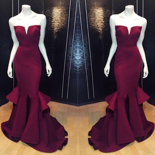 Mermaid Burgundy Prom Dress Evening Party Gown pst0591 – BBtrending