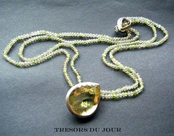 Unique Lemon Quartz Statement NECKLACE with large lemon quartz drop and clasp, strung on lemon quartz and peridot faceted beads by TresorsDuJour
