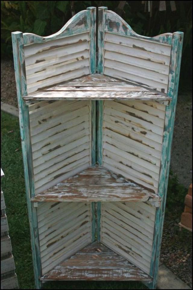 Repurposed shutter shelves. I need a neat shelf for doggie supplies near the back door. This would be cool!