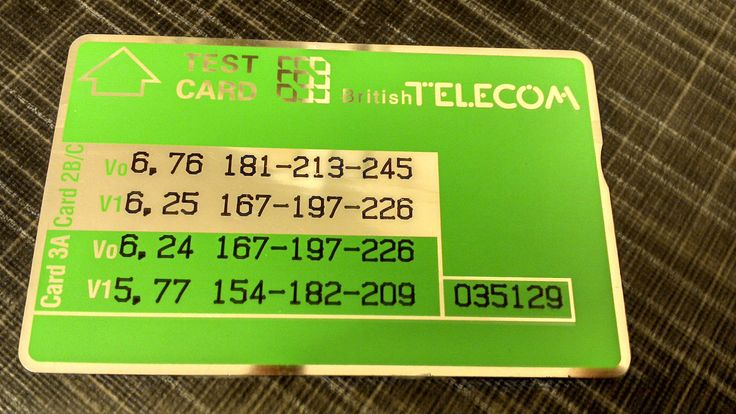 BT Test Card with a NOTCH! Read more about BT Test Cards: http://www.telephonecardcollector.com/british-telecom-test-cards.htm