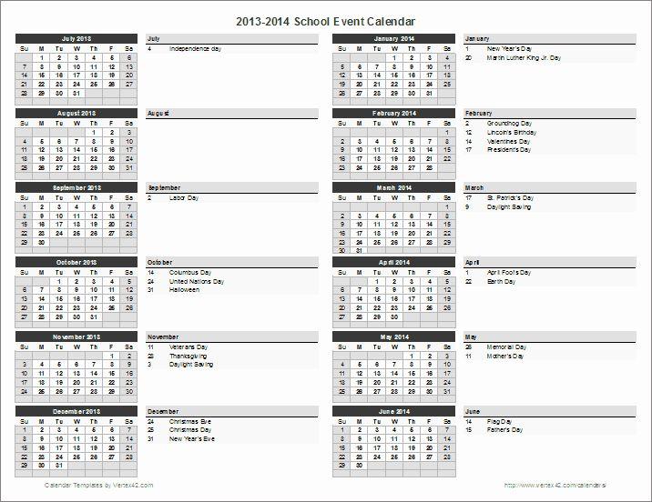 Calendar Of events Template Inspirational School Calendar