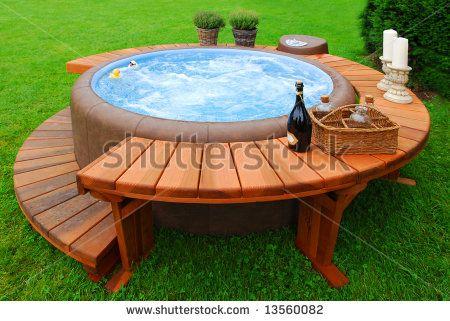 Intex portable hot tub ...... Surround deck separate.