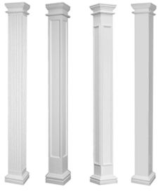 Fluted non tapered fiberglass porch columns rowhouse for Crown columns fiberglass