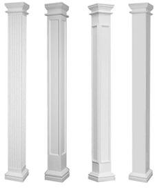 fluted non-tapered fiberglass porch columns