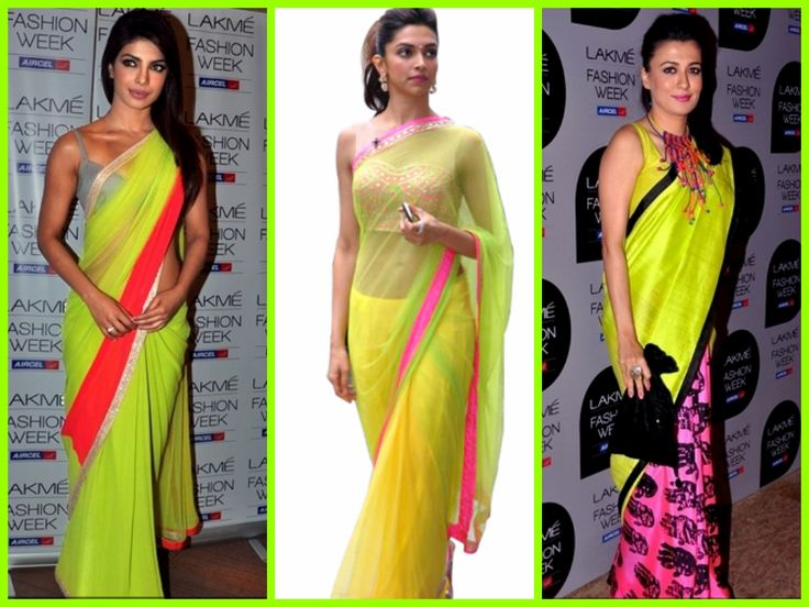 """Who doesn't love to see a woman in her ethnic wear, sari, be it your mother, sister, girl friend or wife?  Neon sari is a hot trend among Indian celebrities. Add that fresh spin by wearing a neon sari!""  http://www.whyrepeat.com/"