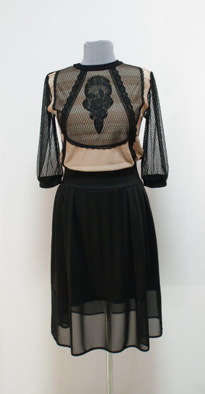 Черно-бежевое платье с кружевом и вышивкой бисером | Платье-терапия от Юлии
