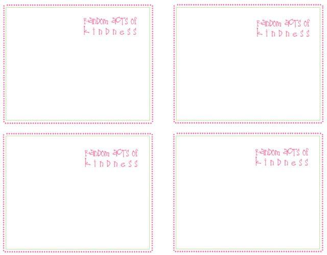random acts of kindness cards: Cards Random, Blank Racks Ed Cards, Racks Cards, Kind Cards, Blank Cards, Rac Cards, Cards Don T, Blank Girls Racks Ed Cards, Free Printable Cards