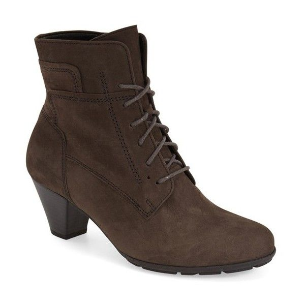 """Gabor 'Hovercraft' Lace-Up Bootie, 2"""" heel ($189) ❤ liked on Polyvore featuring shoes, boots, ankle booties, anthrazit brushed nubuck, mid heel ankle boots, laced up booties, bootie boots, lace up ankle boots and gabor boots"""