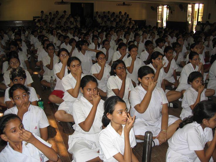 Students practicing pranayama at Loretto School in India
